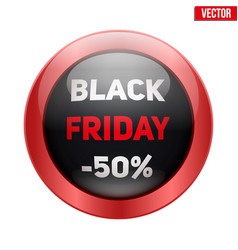black friday glass button vector image vector image