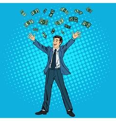 Businessman and money man throwing money vector