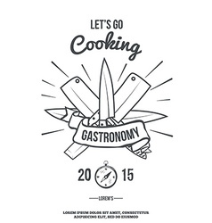Chefs Vintage Crossed Knives T-shirt graphics vector image vector image