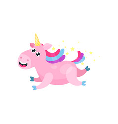 cute cartoon pink magic unicorn with multicolored vector image