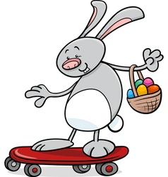 easter bunny on skateboard cartoon vector image vector image
