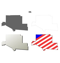 Elk map icon set vector