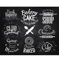 Bakery characters chalk vector