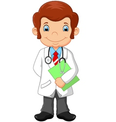 Cartoon doctor holding blank sign vector image vector image