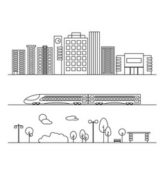 city elements in linear style vector image