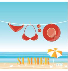 fashion red swimsuit bikini on rope vector image