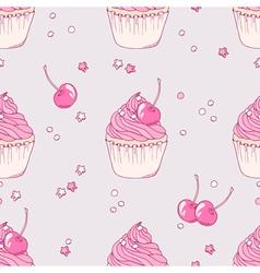 Hand drawn cherry cupcake seamless pattern vector image