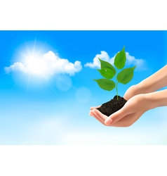 Hands holding a young plant vector image vector image