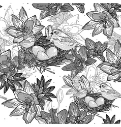 Seamless monochrome floral background with bird vector image