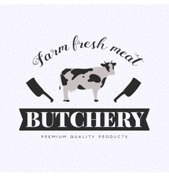 Set of butchery logo with cow and clever vector image vector image