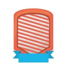 Shield emblem stripes blue ribbon vector