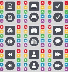 Text file hard drive tick gear keyboard chat vector