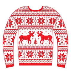 Ugly Christmas jumper or sweater with reindeer vector image