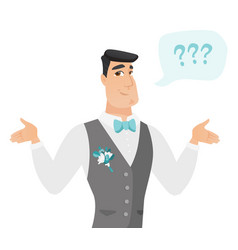 young caucasian confused groom with spread arms vector image vector image
