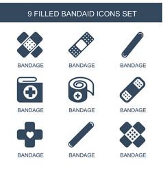 9 bandaid icons vector