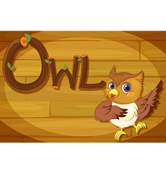 A wooden frame with an owl vector image