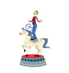 Acrobat clown on circus horse entertainment vector