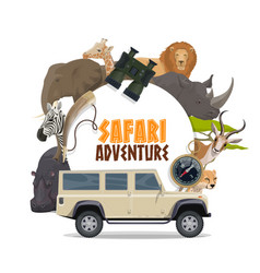 African safari hunting sport and animals africa vector