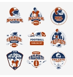 American football rugby color emblems set vector
