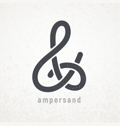 Ampersand elegant symbol on grunge vector