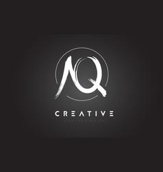 Aq brush letter logo design artistic handwritten vector