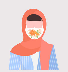 Arab woman i wearing headscarf and protective face vector