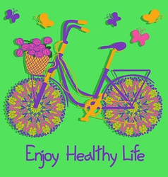 Background with colorful eco bicycle vector