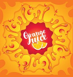 Banner orange juice orange slices and splashes vector