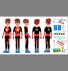 biathlon player male ski race skier vector image