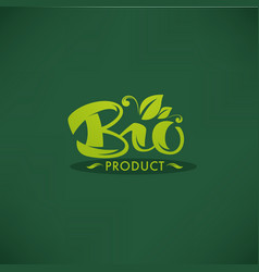 bio product organic green leaves luxury emblem vector image