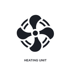 Black heating unit isolated icon simple element vector