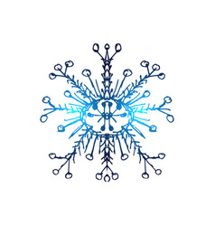 blue neon snowflakes winter snowflakes hologram vector image