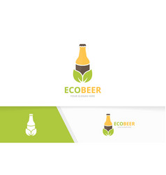 bottle and leaf logo combination beer and vector image