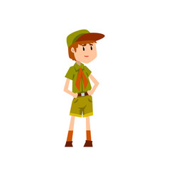 Boy scout character in green uniform vector