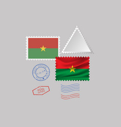 Burkina faso flag postage stamp set isolated on vector