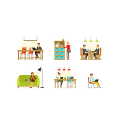 business people working in open space office and vector image