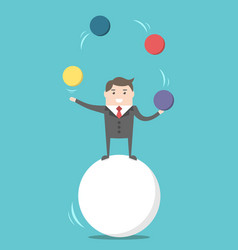 Businessman balancing on ball vector