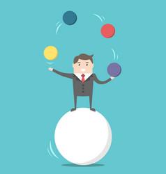 businessman balancing on ball vector image