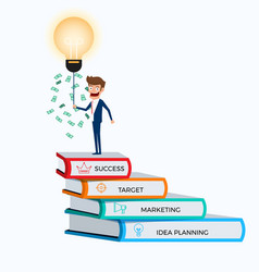 Businessman standing on top of books stair vector