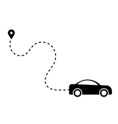 car dotted path line driving away from vector image