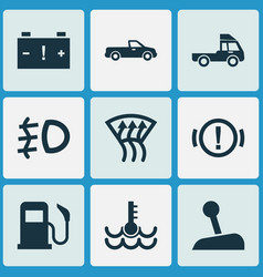car icons set with temperature foglight truck vector image