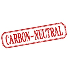Carbon-neutral square red grunge vintage isolated vector