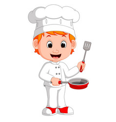 Cartoon funny chef holding frying pan vector