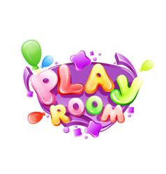 Cartoon kids play room poster template vector