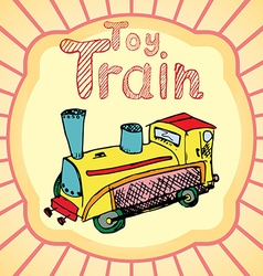Cartoon Toy train colored hand drawn sketch vector image