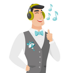 Caucasiangroom listening to music in headphones vector