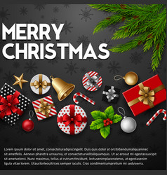 christmas black background with elements vector image