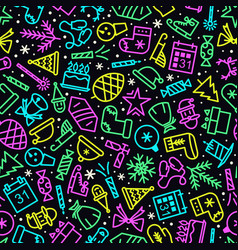 Christmas pattern neon style vector