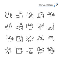 Cleaning line icons editable stroke vector