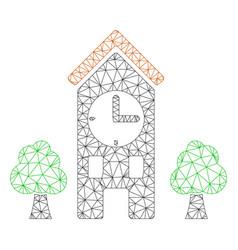 Clock tower polygonal frame mesh vector
